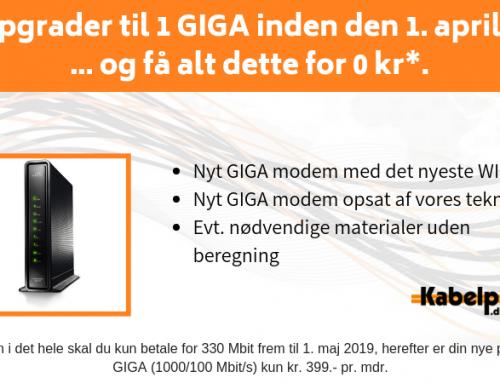Kampagne: Opgrader til 1000/100 Mbit/s inden den 1. april